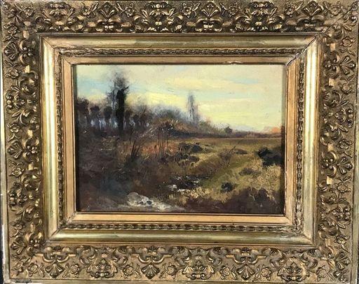 Laurent GUÉTAL - Pintura - c.1882-92 Dauphiné Ruisseau en plaine au pied des montagnes