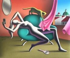Mark KOSTABI - Painting - Euphoric day (feline)