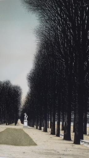 Jacques DEPERTHES - Druckgrafik-Multiple - La statue:Jardin du Luxembourg.