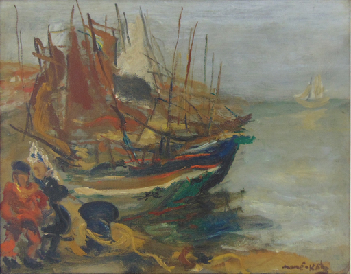 MANÉ-KATZ - Painting - Fishermen by the Boats
