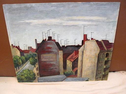 Walter KOHLHOFF - Pittura - Berliner Mietshäuser mit Antennenwald