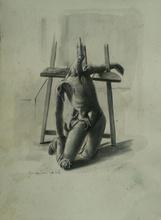 """Pietro ANNIGONI - Drawing-Watercolor - Manichino Metafisico (Studio per """"Il Vinto"""")"""