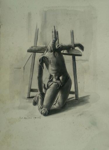 """Pietro ANNIGONI - Disegno Acquarello - Manichino Metafisico (Studio per """"Il Vinto"""")"""