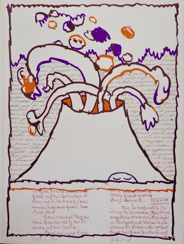 皮埃尔·阿列钦斯基 - 版画 - Volcan dépeint