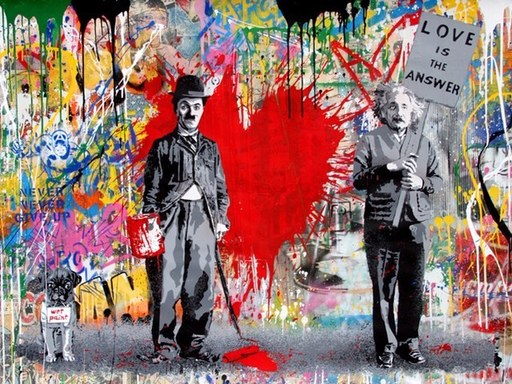 MR BRAINWASH - Pintura - Juxtapose
