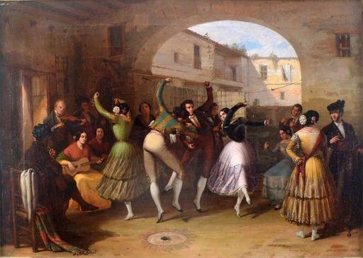 Joaquín DOMINGUEZ BÉCQUER - Gemälde - Dancers in a Courtyard