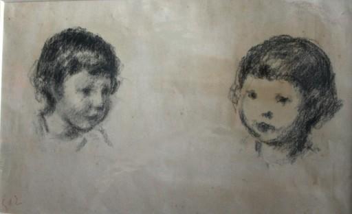 Georges D'ESPAGNAT - Dibujo Acuarela - Tête d'enfant