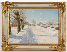 "Harald Julius Niels PRYN - Pintura - ""A snow-covered road"" oil painting, 1940s"