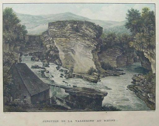 Friedrich SALATHÉ - Zeichnung Aquarell - Jonction de la Valserine au Rhône