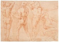 Andrea BOSCOLI - Drawing-Watercolor - Quatre études masculines, pour le Martyre de St Barthélémy