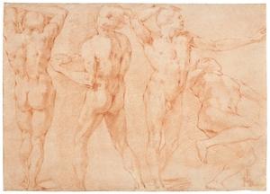 Andrea BOSCOLI - Dibujo Acuarela - Quatre études masculines, pour le Martyre de St Barthélémy