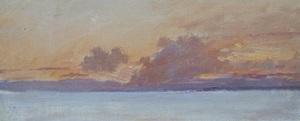 François BOCION - Painting - Coucher de soleil sur le Léman