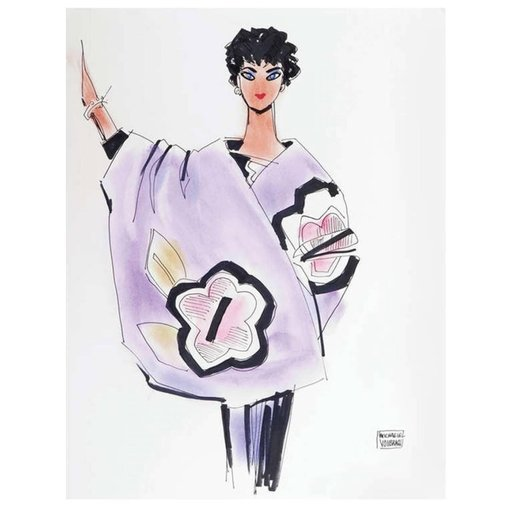 Michael VOLLBRACHT - Disegno Acquarello - Michaele Vollbracht Fashion Drawing, Liz Taylor