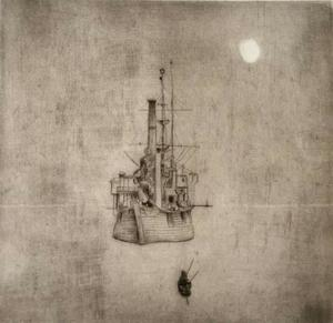 Philippe MOHLITZ - Print-Multiple - Navire dans la brume