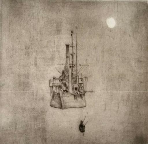 Philippe MOHLITZ - Grabado - Navire dans la brume