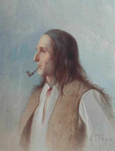 Franciszek TEPA - Dibujo Acuarela - Montagnard des Environs de Szczawnica