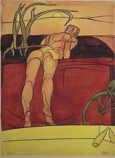 Valerio ADAMI - Drawing-Watercolor - Sunset