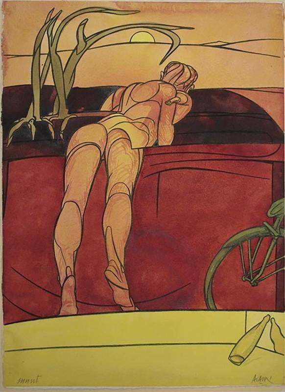 Valerio ADAMI - Dessin-Aquarelle - Sunset