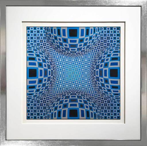 Victor VASARELY - Grabado - Enigma - Four Blue Spheres