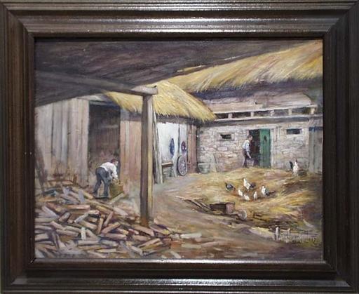 """Alexander PAWLOWITZ - Pintura - """"Peasant Work"""" by Alexander Pawlowitz, 1931, Oil Painting"""
