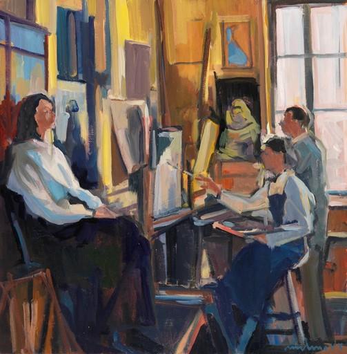Carole MELMOUX - Painting - Scène d'Atelier 4 Etampes