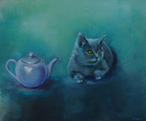 Violetta MALATERRE - Peinture - Le chat et la théière