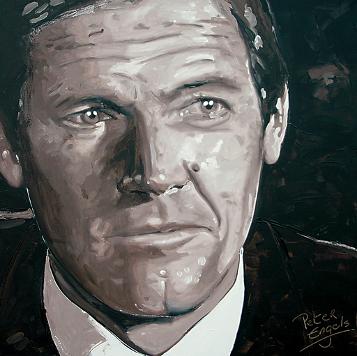 Peter ENGELS - Pintura - Roger Moore - James Bond 007