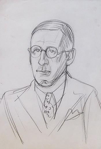Erich HARTMANN - Disegno Acquarello - Porträt eines Mannes (Selbstporträt?)