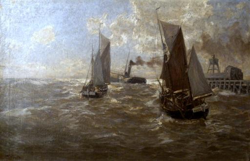 Erwin Carl Wilhelm GÜNTHER - Painting - Piroscafo e barche a vela sul mare