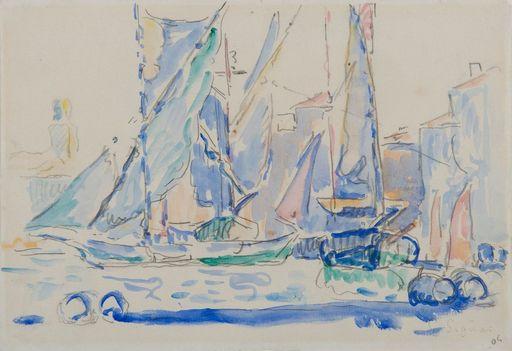 Paul SIGNAC - Zeichnung Aquarell - Saint-Tropez, Tartanes au port