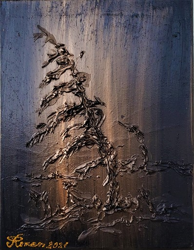 Romeo DOBROTA - Painting - Night's reflection, Acrylic on canvas, Sculpture