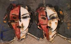 Manolo VALDÉS - Pintura - Doble imagen sobre fondo gris