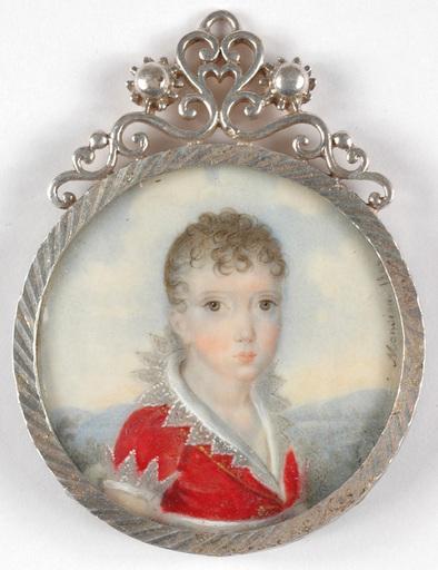 """André Léon MANSION - Miniature - """"Portrait of a highly noble boy"""" miniature"""