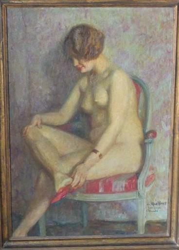 Étienne CLÉMENTEL - Painting - Nu au fauteuil