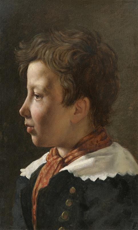 Martin DROLLING - Pittura - Portrait présumé du fils de l'artiste de profil gauche
