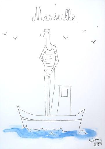 Richard BOIGEOL - Zeichnung Aquarell - MARSEILLE