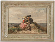 """Adolphe DILLENS - Dibujo Acuarela - """"Courting couple"""", watercolor, 1850/70s"""