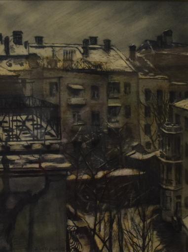 Ernst Michael WAGNER - Drawing-Watercolor - Wien, Wagnerhaus Blick  vom Garten