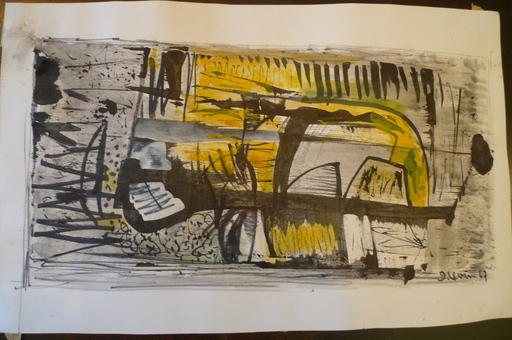 Joseph LEVIN - Drawing-Watercolor - composition abstraite 4