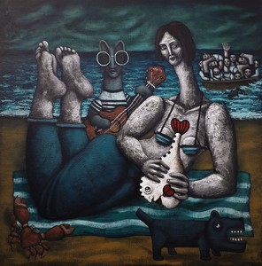 Nicolas MONJO - Painting - Mer calme
