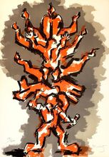 Jacques LIPCHITZ - Print-Multiple - Tree of Life (Orange)