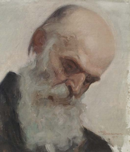 "Karl BORSCHKE - Pintura - ""Head of an Old Man"" by Karl Borschke"