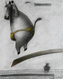 Jorge VALLEJOS - Painting - Vaquita en el trampolin