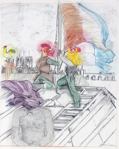 Larry RIVERS - Dessin-Aquarelle - Raising the Flag