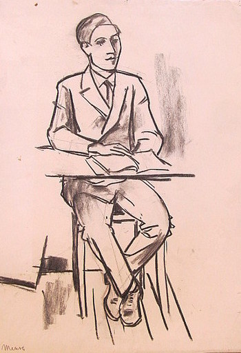 Erich HARTMANN - Disegno Acquarello - Junger Mann im Anzug.
