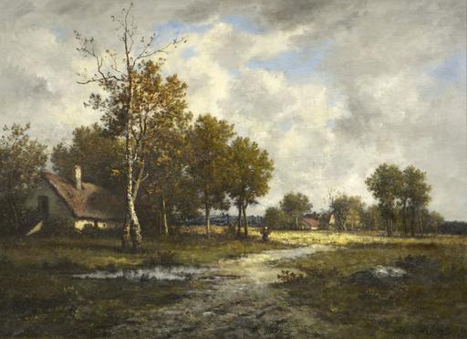 Léon RICHET - Pintura - Chaumière près de la mare