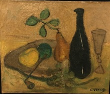 Claude VENARD - Painting - Fruits and wine
