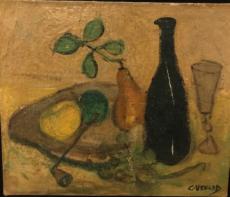 Claude VENARD - Pintura - Fruits and wine