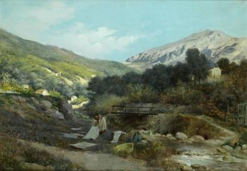 José LUPIAÑEZ Y CARRASCO - Pintura - Lavanderas en el Río
