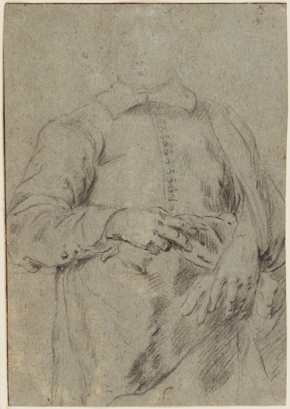 Anthonius VAN DYCK - Zeichnung Aquarell - STUDY FOR A PORTRAIT OF A STANDING MAN